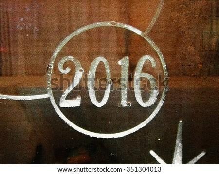 2016 New Year shiny light lit glass ice mosaic background - stock photo