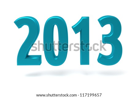 2013 New Year sign isolated on white - stock photo