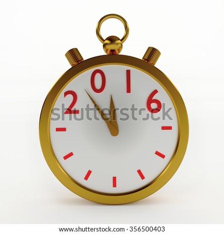 2016 New Year timer on white, 3d illustration.  - stock photo