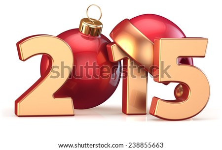2015 New Years Eve Christmas ball decoration Santa hat bauble Merry Xmas wintertime stylized countdown calendar date. 3d render isolated on white background - stock photo