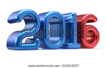2016 New Years Eve wintertime banner decoration number blue red winter celebration adornment design element. Future planning calendar date greeting card advertisement text. 3d render isolated - stock photo