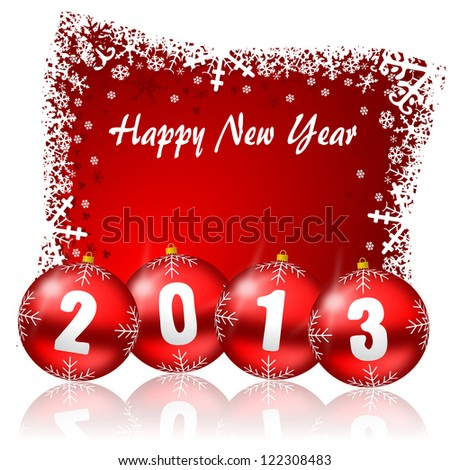 2013 new years illustration with christmas balls - stock photo