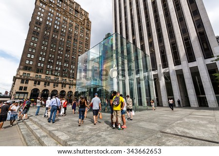 ?NEW YORK - AUGUST 23: View to the Apple Store building at day on August 23, 2015. This is one of the most profitable Apple shops worldwide, located at the Fifth Avenue in Manhattan. - stock photo