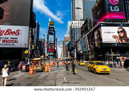 ?NEW YORK - AUGUST 22: Views of the rush streets of Manhattan at Times Square on August 22, 2015. Times Square is a busy place in the Midtown district of Manhattan, New York. - stock photo