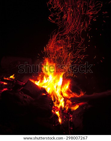 Night bonfire for design and overlay montage in photo editors  - stock photo