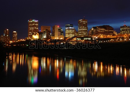 Night scene of the saskatchewan river valley and downtown in city edmonton, alberta, canada. - stock photo