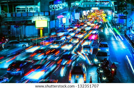 night traffic in the city - stock photo