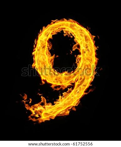 9 (nine), fire figure - stock photo