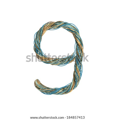9, nine, set of numbers of twisted wire - stock photo