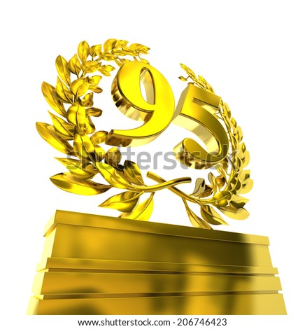 95, ninety-five number in golden letters at a pedestrial with laurel wreath - stock photo