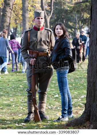Nis, Serbia - November 14, 2015: Celebration of the Army of Serbia in Nis, images of soldiers in old uniforms Serbian citizens from the Great War. - stock photo
