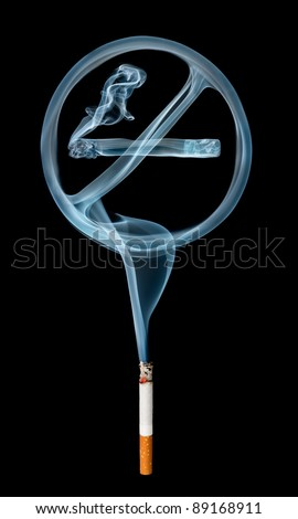 """No smoking"" smoke sign coming from a cigarette isolated on black background. - stock photo"