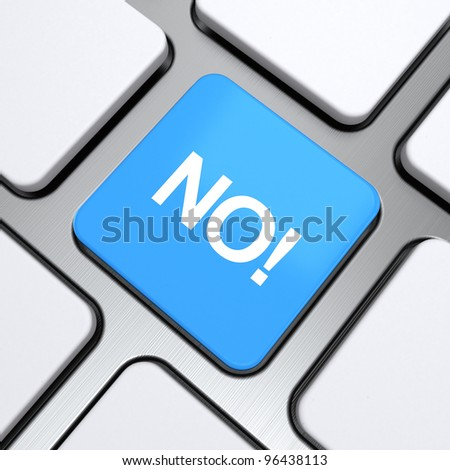 """""""No"""" text on a button keyboard, 3d render - stock photo"""