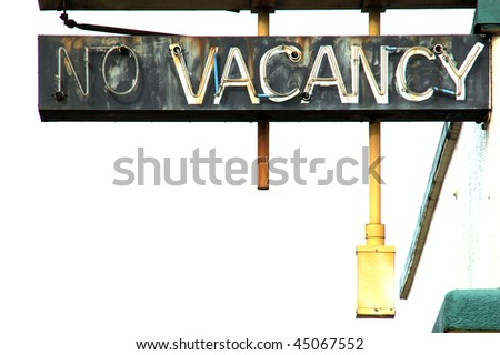 """No Vacancy and White"" outside of old hotel, SE Stephens, Roseburg OR.  Hotel is now cheap apartments - stock photo"