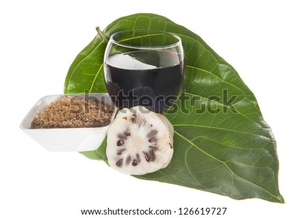 noni fruit on white background - stock photo