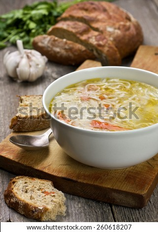 noodle soup in a bowl - stock photo