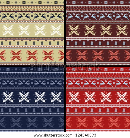 04 NORDIC SET traditional knitted ornamental pattern winter seamless red blue brown beige background - stock photo