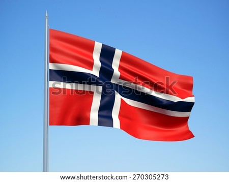 Norway 3d flag floating in the wind with a blue sky background - stock photo