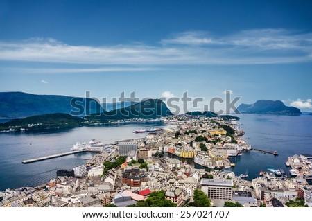 Norway, sunny Alesund panorama  - stock photo