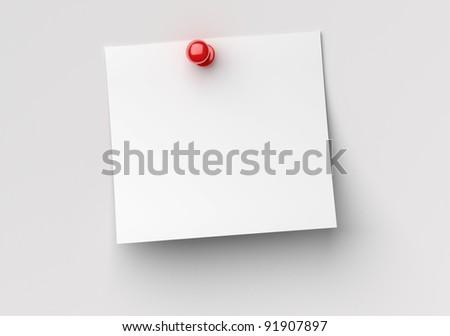 note paper with red push pin - stock photo