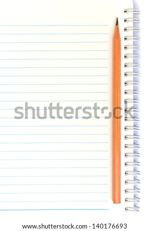 notebook with thin line and pencil - stock photo