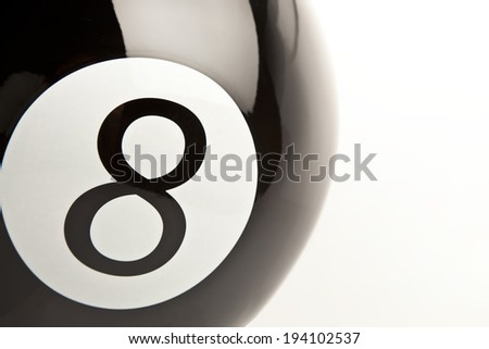 8 Number billiards ball close-up white background - stock photo