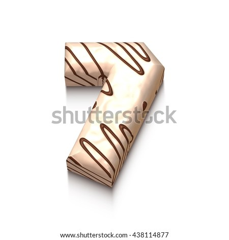 7 number of white chocolate with brown cream in 3d rendered on white background. - stock photo