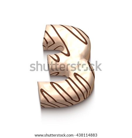 3 number of white chocolate with brown cream in 3d rendered on white background. - stock photo