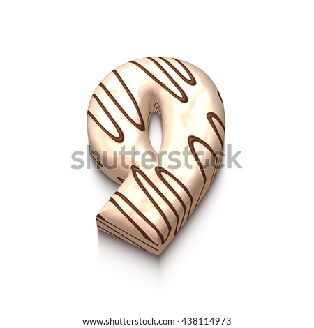 9 number of white chocolate with brown cream in 3d rendered on white background. - stock photo