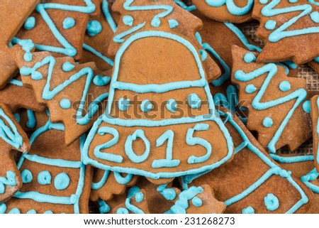 2015 number on gingerbread cookie - christmas composition - stock photo