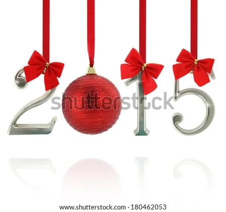 2015 number ornaments hanging on red ribbons - stock photo
