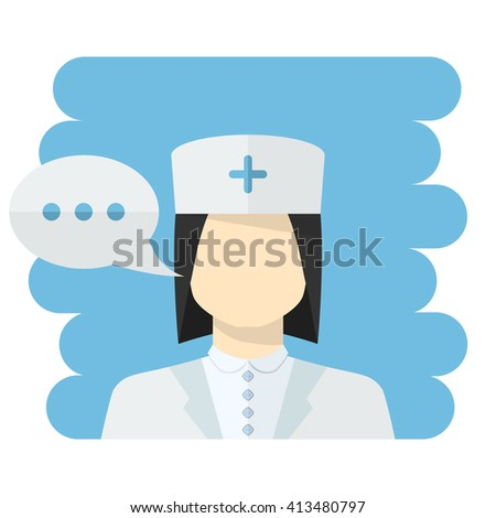 Nurse . medical worker icon female Nurse avatar in uniform ,in flat style with a color speech bubble conceptual health care.Nurse icon flat style isolated.Medical worker - stock photo