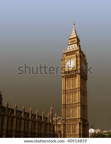 12 o'clock on  Big Ben - New Year is coming. - stock photo