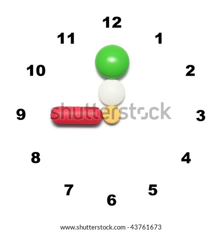 9 o'clock time for medication - stock photo