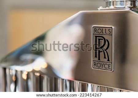 12 October 2014:  Fair of the spouses to San Pellegrino Terme Italy.  the Rolls Royce logo - stock photo