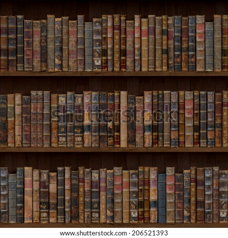 1of15 Old books seamless texture (vertically and horizontally). Bookshelf Background. Also tiled with other 15 textures from same pack in my gallery. - stock photo
