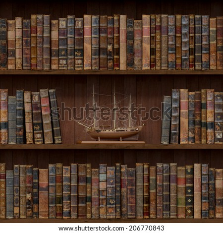 3of15 Old books seamless texture (vertically and horizontally). Tiled Bookshelf Background. Also tiled with other 15 textures from same pack in my gallery. - stock photo