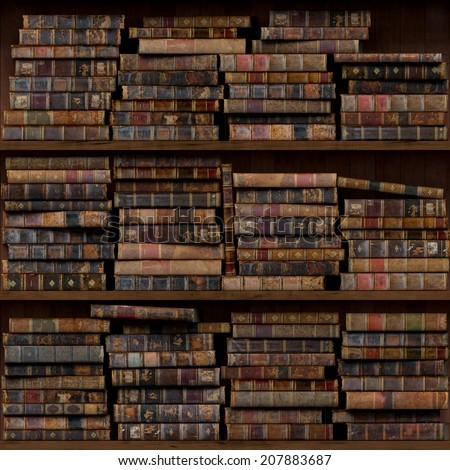4of15 Old books seamless texture (vertically and horizontally). Tiled Bookshelf Background. Also tiled with other 15 textures from same pack in my gallery. - stock photo
