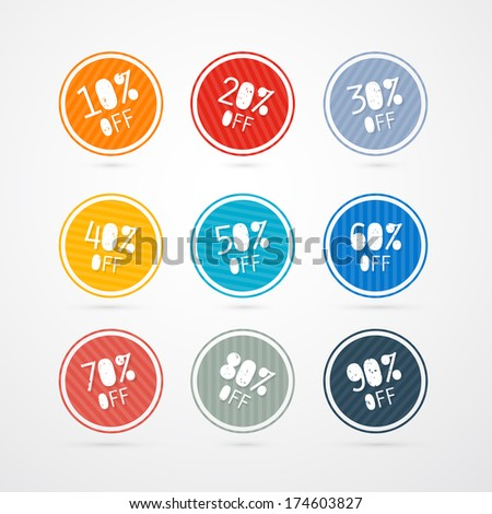10% off, 20% off, 30% off, 40% off, 50% off, 60% off, 70% off, 80% off, 90% off, Stickers, Labels - Also Available in Vector Version - stock photo