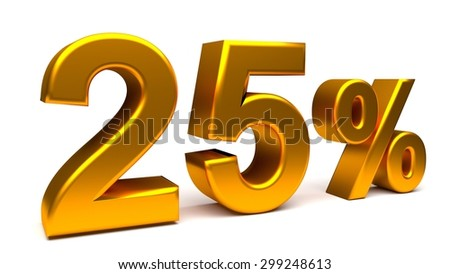 25% off. On sale. Products on sale. One quarter. Rendered UHD 4K illustration of 3840x2160 pixels. Isolated 3D text with big golden fonts on white background. - stock photo