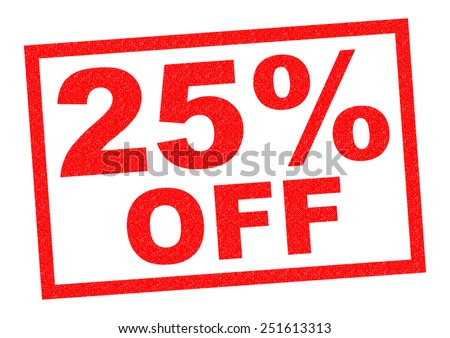 25% OFF red Rubber Stamp over a white background. - stock photo