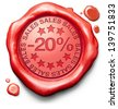 20% off sales summer or winter reduction extra low price buy for bargain limited offer icon red wax seal stamp - stock photo