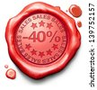 40% off sales summer or winter reduction extra low price buy for bargain limited offer icon red wax seal stamp - stock photo