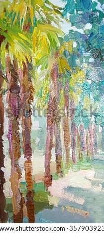 oil painting, art, palms - stock photo