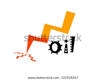 """""""Oil""""  text and an arrow going down isolated on white background - stock photo"""