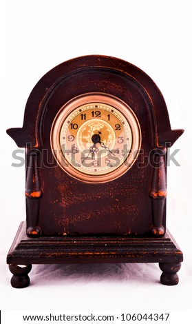 Old and damage antique clock - stock photo