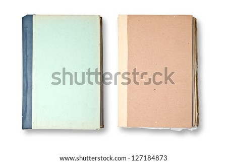 Old Book Cover isolated on white background - stock photo