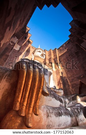 Old Buddha in old town at Sukhothai Historical park, Thailand - stock photo