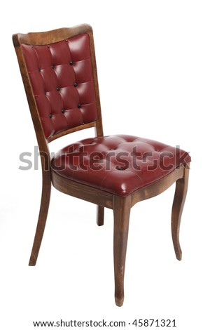 old chair with leather seat on a white background - stock photo