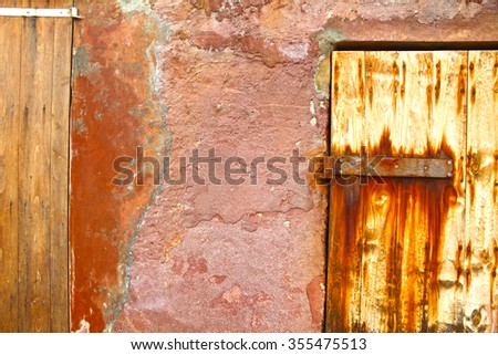 Old door boat shelters in Ibiza coast Spain - stock photo